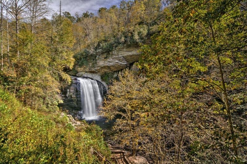 Seende exponeringsglas faller vattenfallet arkivfoton