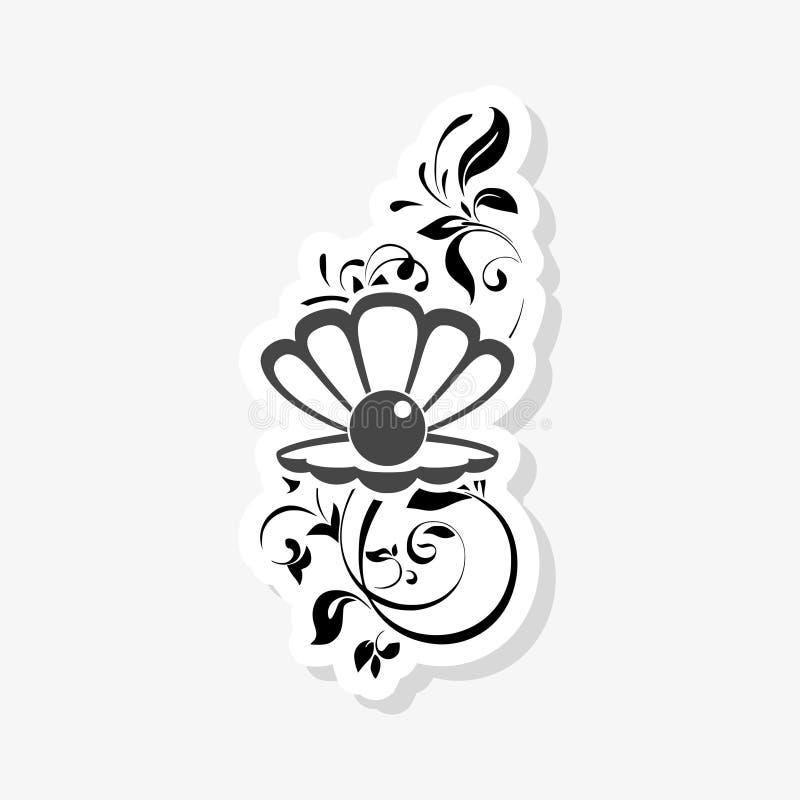 Seeperle im offenen Oberteil, Blumenverzierungsaufkleber stock abbildung