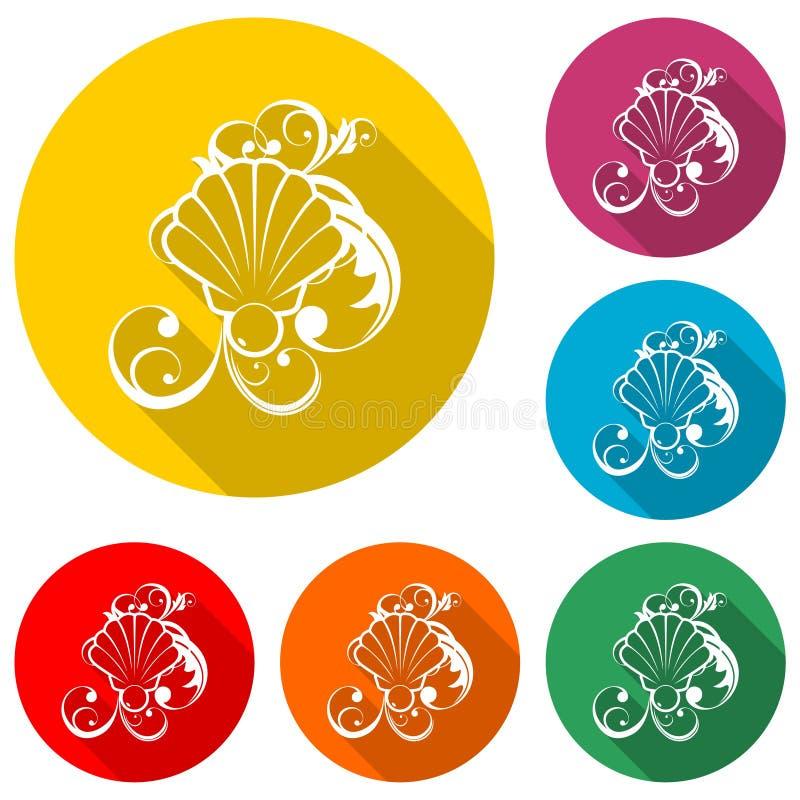 Seeperle im offenen Oberteil, Blumenverzierungsikone oder Logo, Farbsatz mit langem Schatten lizenzfreie abbildung