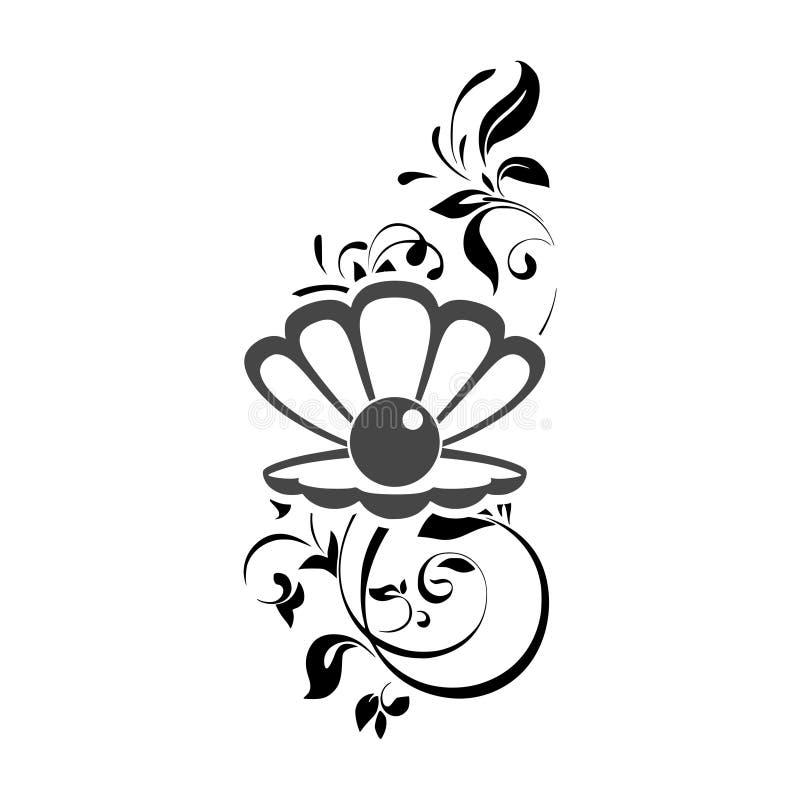 Seeperle im offenen Oberteil, Blumenverzierungsillustration vektor abbildung