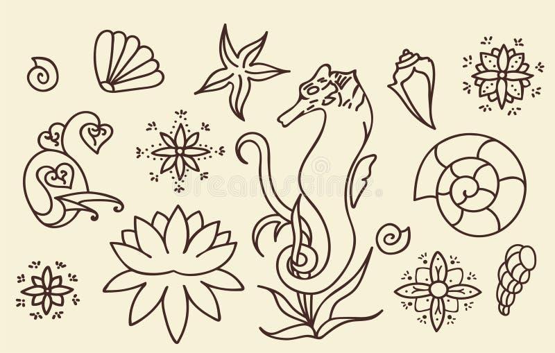 Seepferdchen, Oberteile und Gekritzelelemente Grafische Seelebensammlung Vektorozeangeschöpfe lokalisiert Braune und beige Farbe  lizenzfreie abbildung