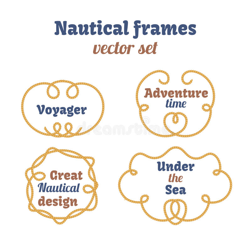 Seerahmen eingestellt Seilstrudel Dekorative Vektorknoten Dekorative Dekorelemente mit Seil Entwurf lizenzfreie abbildung