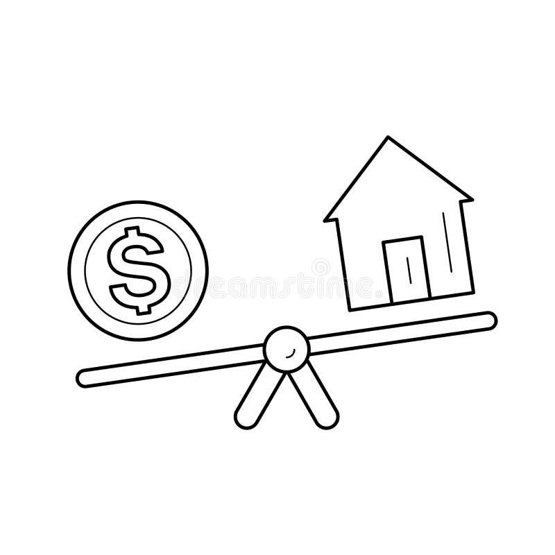 Seesaw με το εικονίδιο γραμμών νομισμάτων σπιτιών και δολαρίων ελεύθερη απεικόνιση δικαιώματος