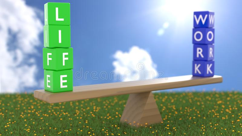 Seesaw στην πράσινη χλόη μια ηλιόλουστη ημέρα με πράσινο χωρίζει σε τετράγωνα ελεύθερη απεικόνιση δικαιώματος