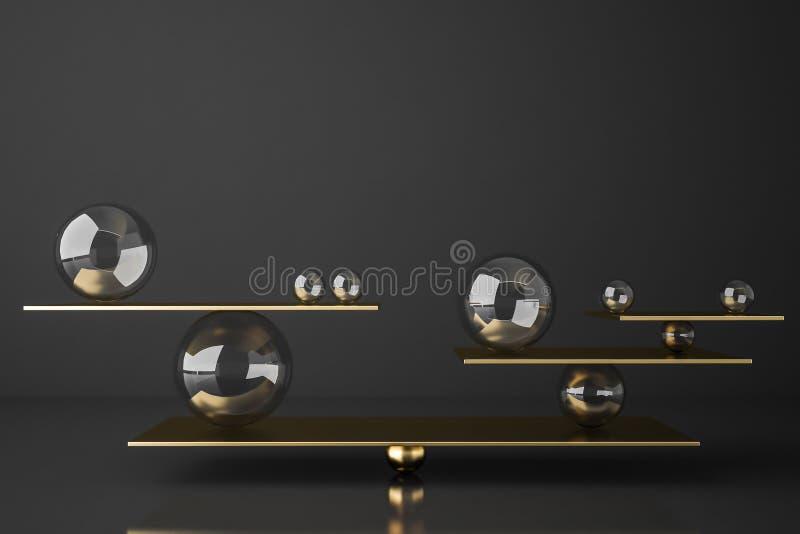 Seesaw сбалансированный золотом со сферами бесплатная иллюстрация