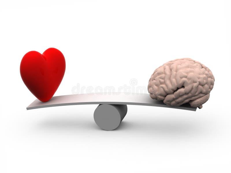 Seesaw с сердцем и мозгом иллюстрация вектора