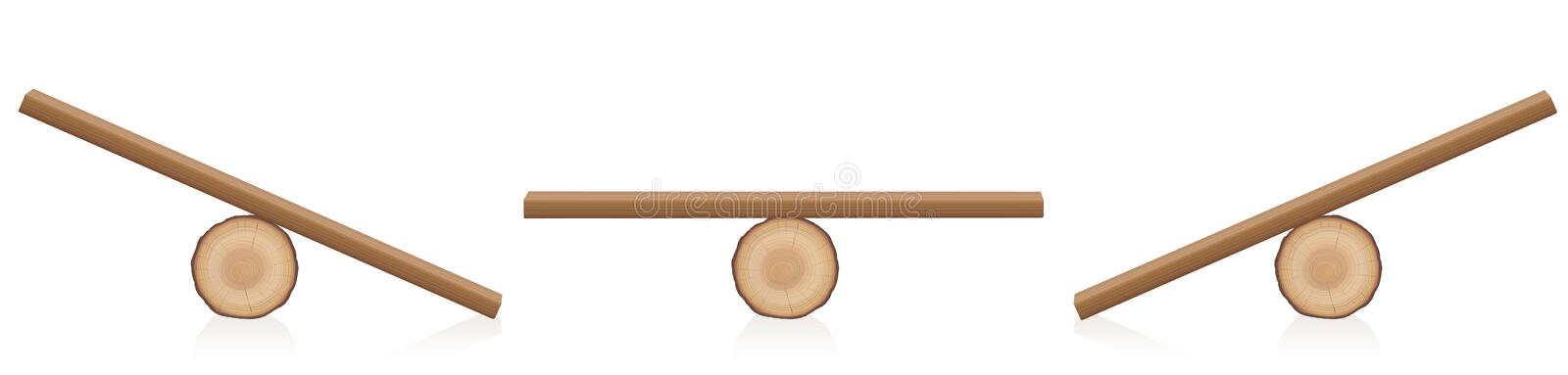 Seesaw Balance Equal Unequal Weight Wooden Toy. Seesaw balance. Equal and unequal weight. Wooden balance toy. Simple rustic seesaws constructed of a lying tree royalty free illustration