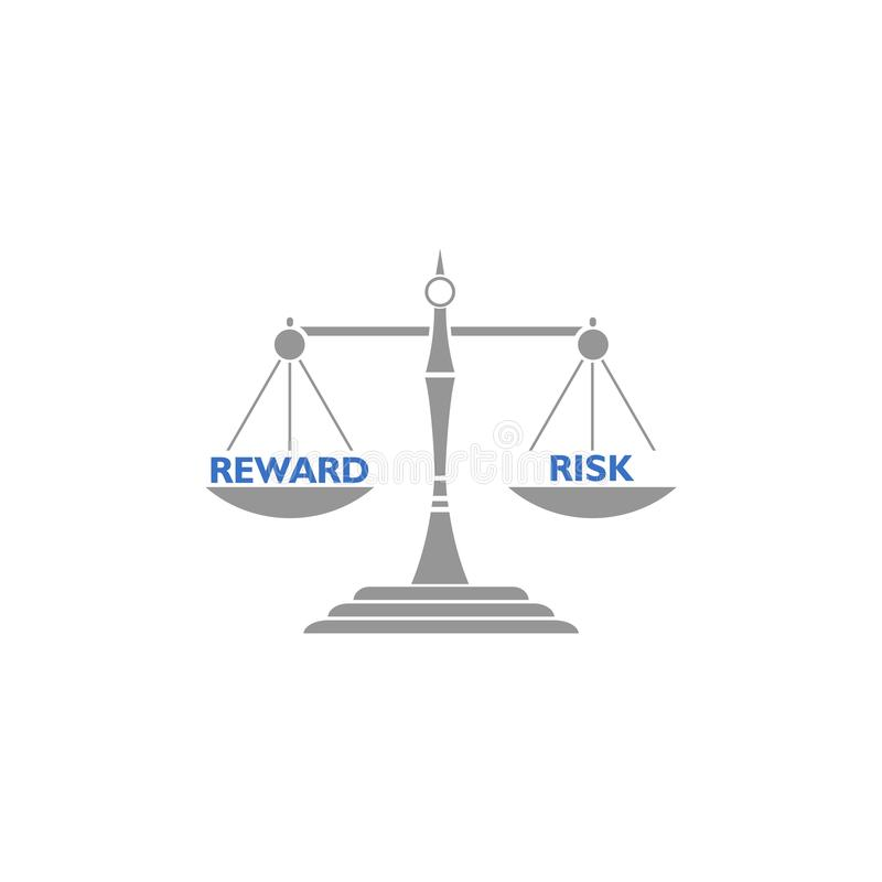 Seesaw balance between reward and risk, libra concept vector illustration