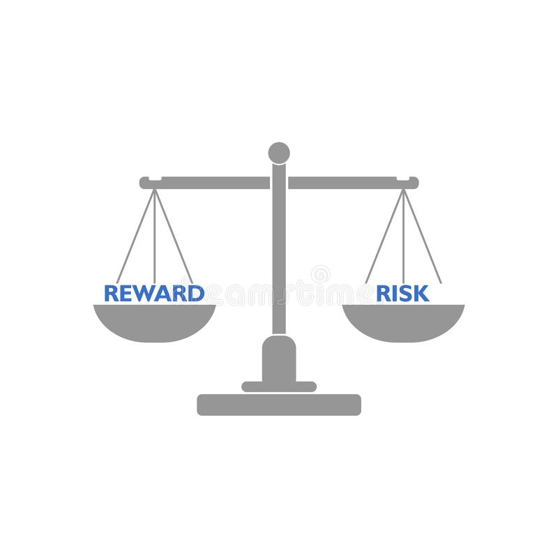 Seesaw balance between reward and risk, libra concept royalty free illustration