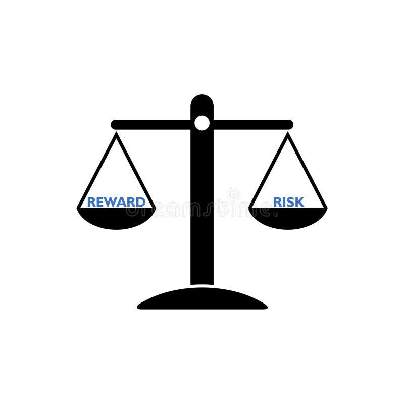 Seesaw balance between reward and risk, libra concept stock illustration