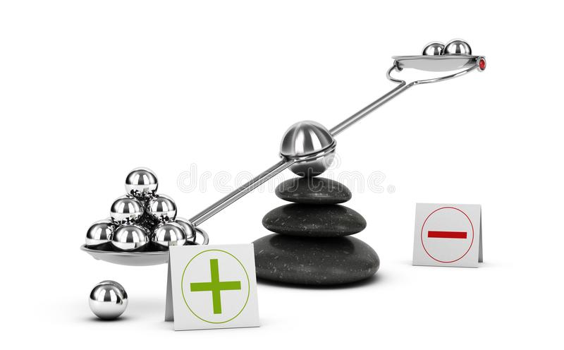 Weigh Pros and Cons, Benefit Risk Assesment. Positive Evaluation vector illustration
