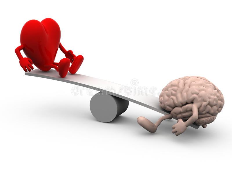 Seesaw with heart and brain stock illustration
