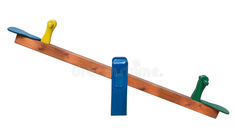 Seesaw isolated on white background stock photography