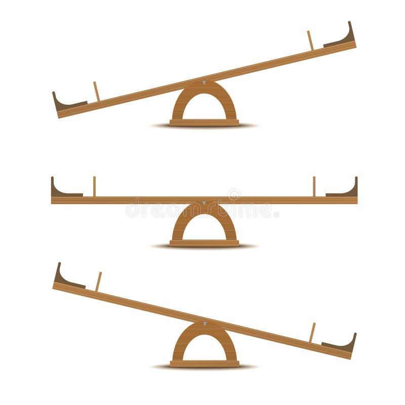 Seesaw lub drewniana równowaga royalty ilustracja