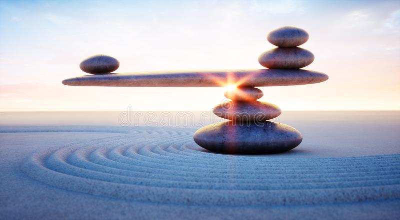 Seesaw of pebbles in the sand at sunrise or sunset vector illustration