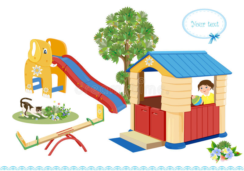Seesaw, slider and house. Playground. Seesaw, slider and house stock illustration