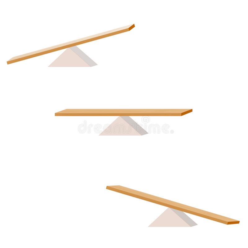 seesaw ställ in av tre objekt träplanka som balanserar på en trätriangel royaltyfri illustrationer