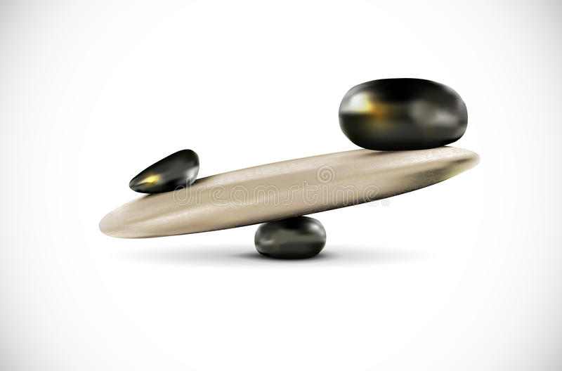 Seesaw from stones on white background - balance concept royalty free illustration