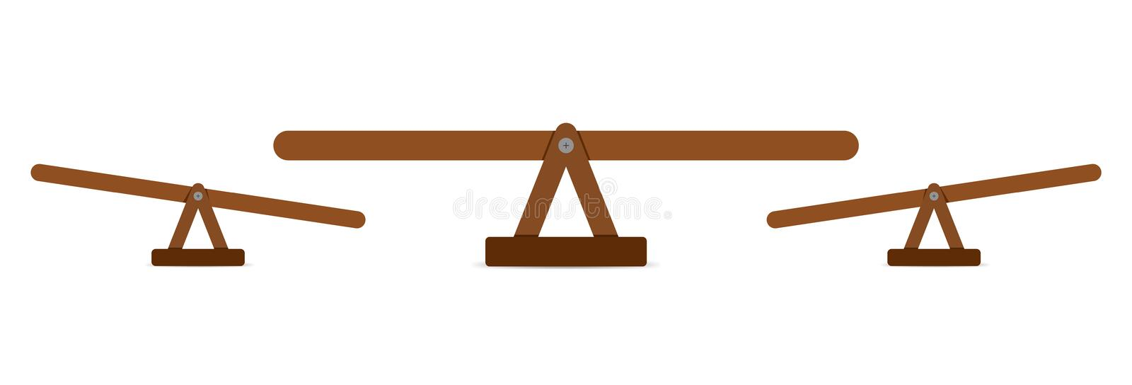 Seesaw or wooden balance scale. Teeter equal board vector illustration