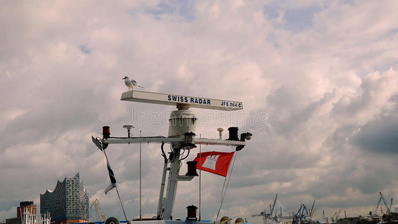 Seeseeradar mit Seemöwe am Hafen lizenzfreie stockfotos