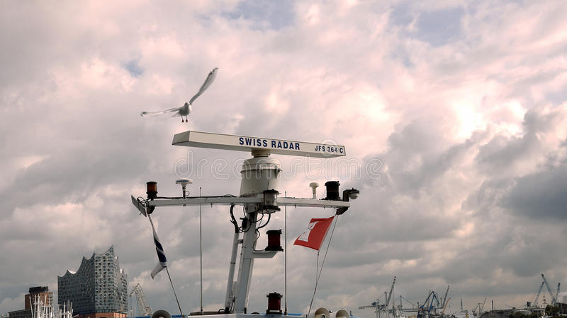 Seeseeradar mit Seemöwe am Hafen stockbilder