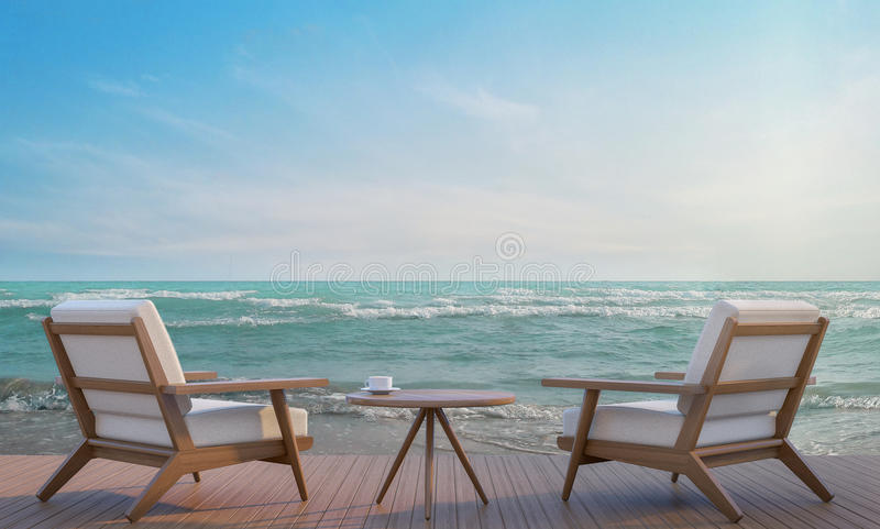 Seeseitenterrasse und Wiedergabebild des Wohnbereichs 3d lizenzfreie abbildung