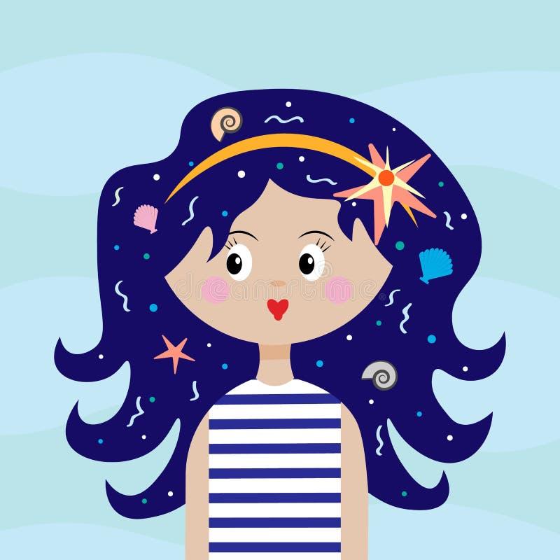 Seesommerthema Ein Mädchen mit Muscheln in ihrem Haar und in einem Weste Seemannmädchen mit dem blauen Haar lizenzfreie abbildung