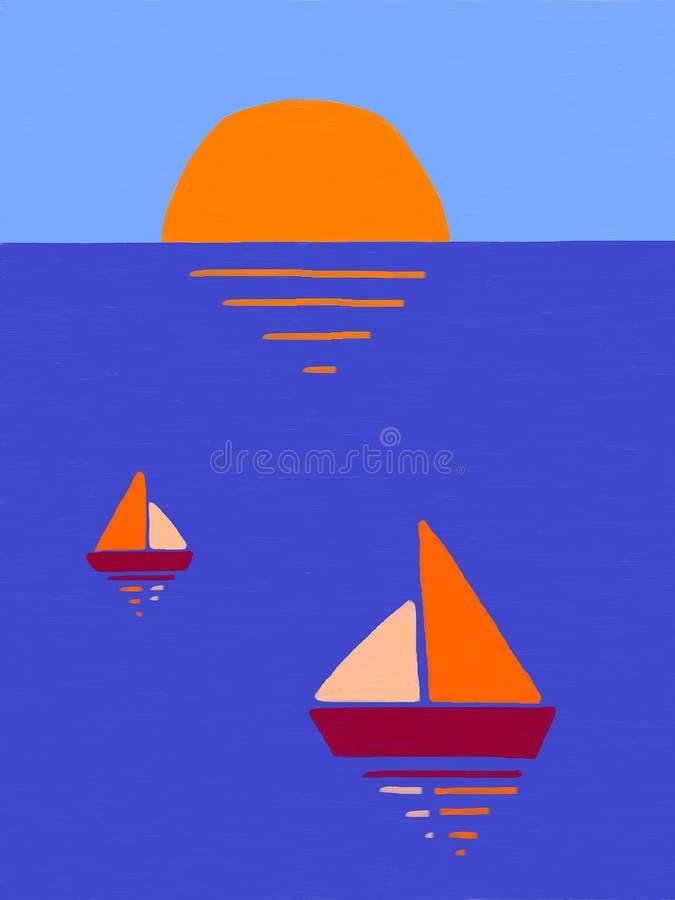 Seesonnenuntergang und -boote stock abbildung
