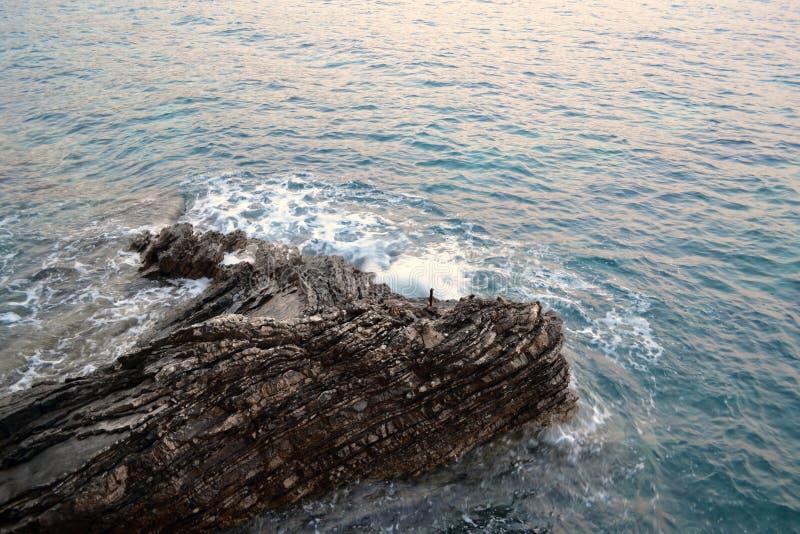 Seesturm - Welle stößt an Stein am sonnigen Tag des Sommers Sonnenuntergang, der auf Wasser isreflecting ist Gefahr auf dem Wasse lizenzfreie stockbilder