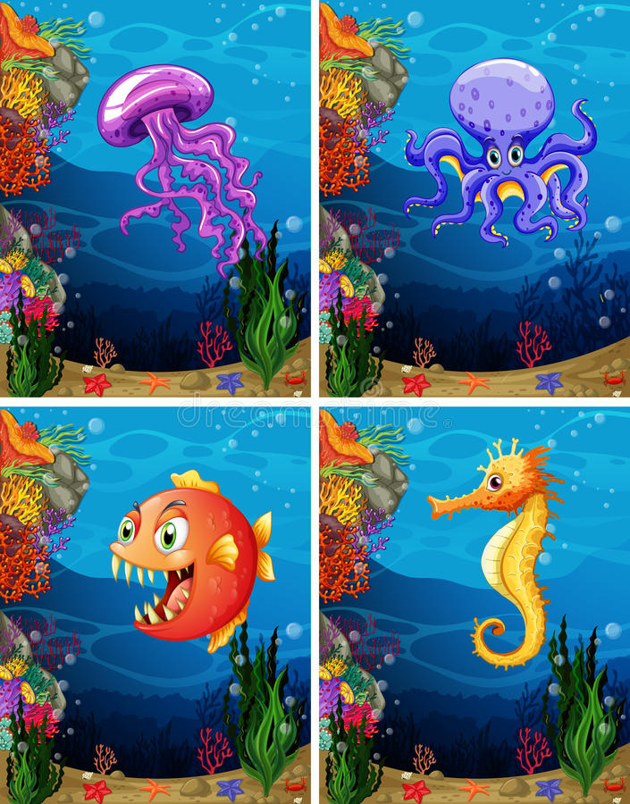 Seetiere, die unter dem Meer schwimmen vektor abbildung