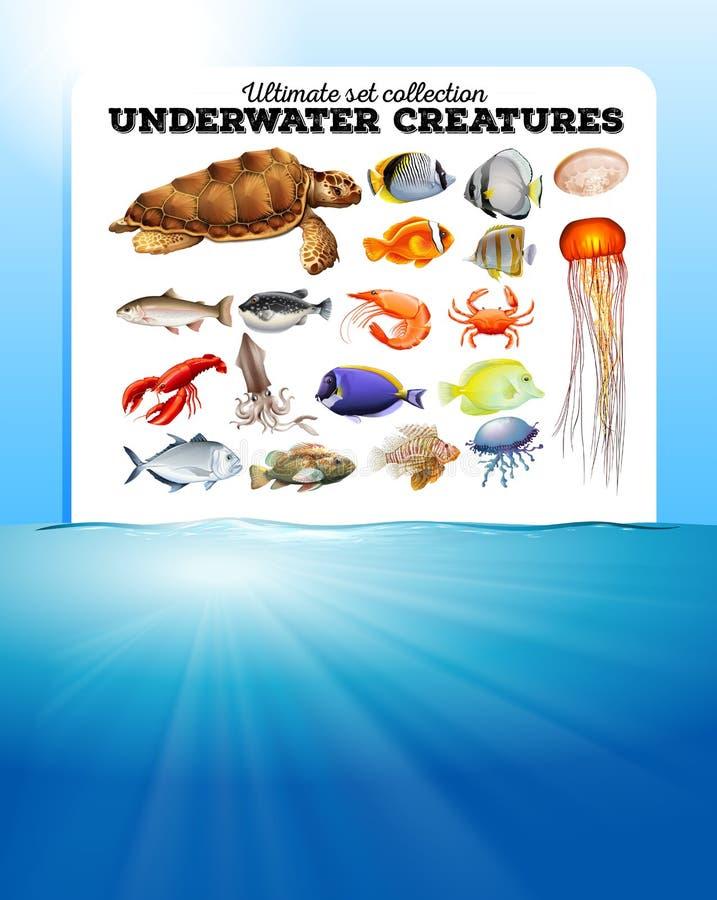 Seetiere und der Ozean stock abbildung