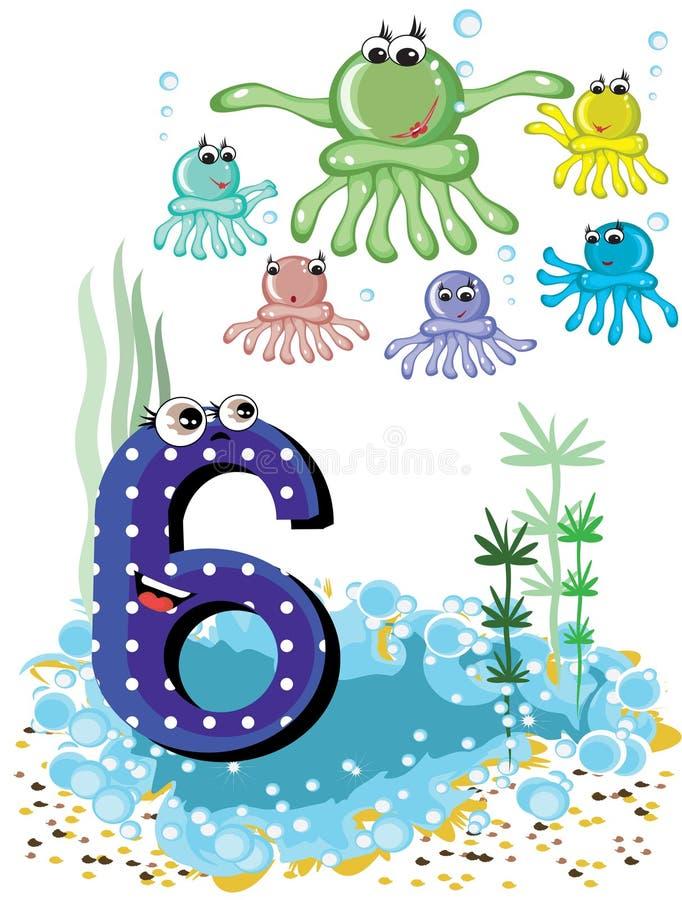 Seetiere und Zahlserie -, 6, Kraken vektor abbildung