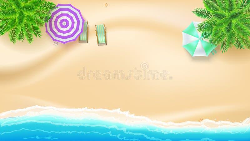 Seeufer und sandiger Strand, flache Lage Draufsicht des sandigen Strandes mit Sommerzubehör Sommerstrand, Palme, Brandungswellen lizenzfreie abbildung