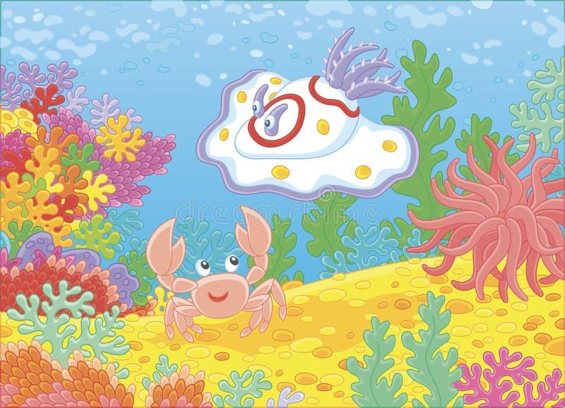 Seeungeheuermolluske und -krabbe auf einem Riff lizenzfreie abbildung