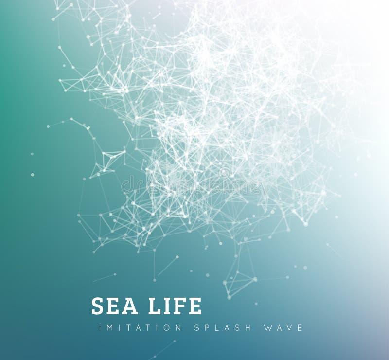 Seewelle durch Punkt und Linie Verbindung vektor abbildung
