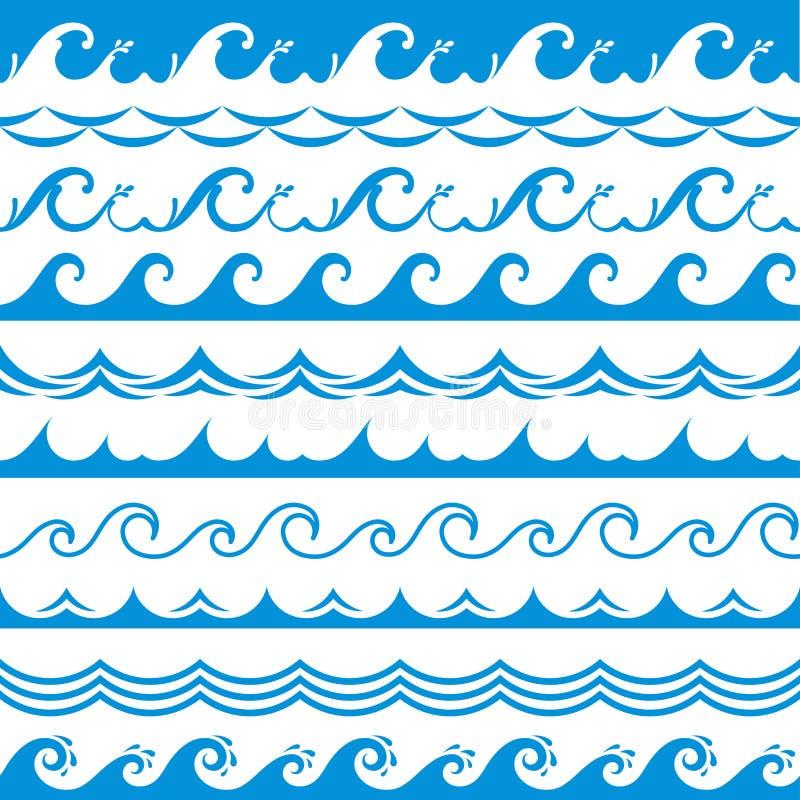 Seewellenrahmen Nahtlose Ozeansturmgezeiten bewegen horizontalen Vektor der gewellten Spritzengestaltungselemente des blauen Wass stock abbildung