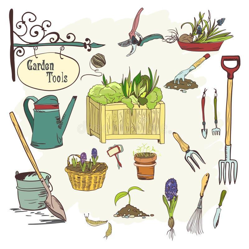 Sef of gardening tools vector illustration