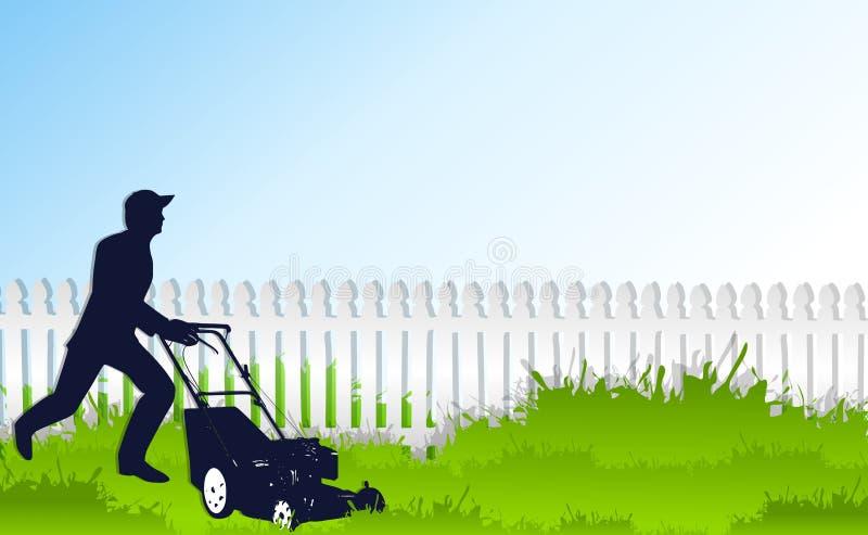 Segando a grama verde alta ilustração stock