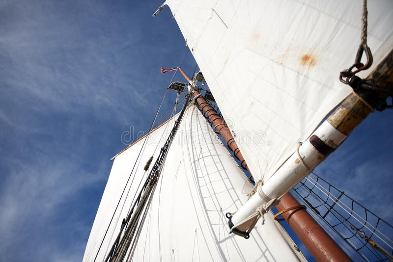 Segel eines Großseglers gegen den blauen Himmel (Boston, Massachusetts, USA/am 20. September 2012) stockfotografie