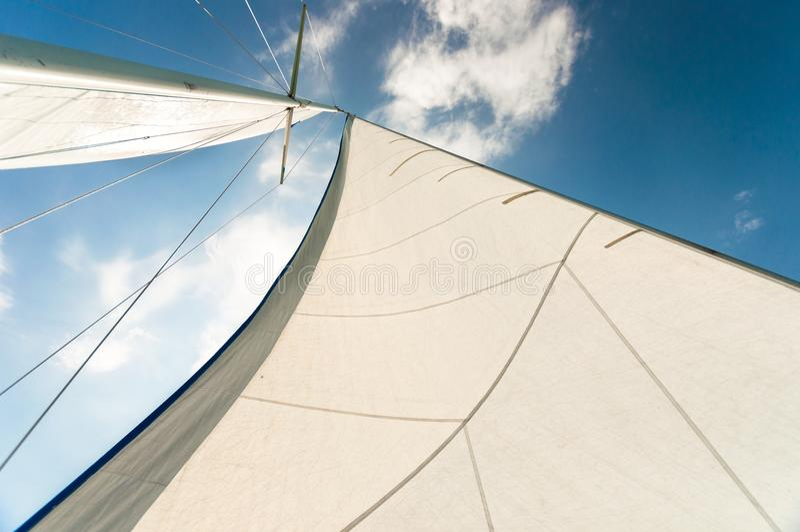 Segel eines Segelboots lizenzfreie stockfotografie