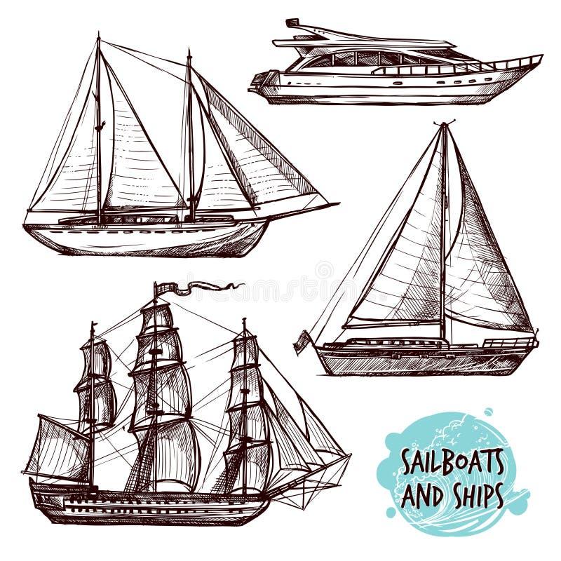 Segel-Schiffe eingestellt stock abbildung