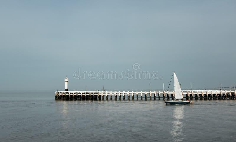 Segelbåt in bredvid den gamla träpir av Nieuwpoort royaltyfri bild