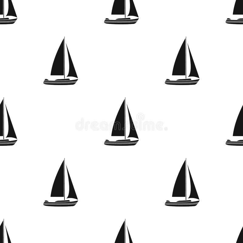 Segelbåt för att segla Fartyg som konkurrerar i segling Enkel symbol för skepp- och vattentransport i svart materiel för stilvekt vektor illustrationer