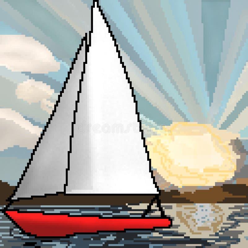 Segelbåt för bit för PIXEL som 8 utdragen svävar på havet under solnedgång stock illustrationer