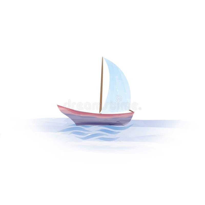 Segelbåt Fartyg i havet Tecken för sommarferie vektor illustrationer
