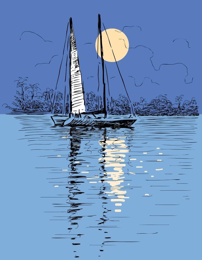 Segelbåt i den månbelysta natten royaltyfri illustrationer