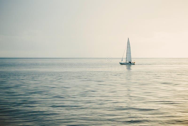 Segelbåt i det öppna havet på solnedgången royaltyfri foto
