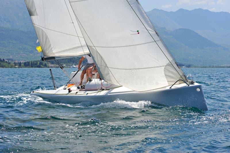 Segelbåt i handlingen arkivfoto