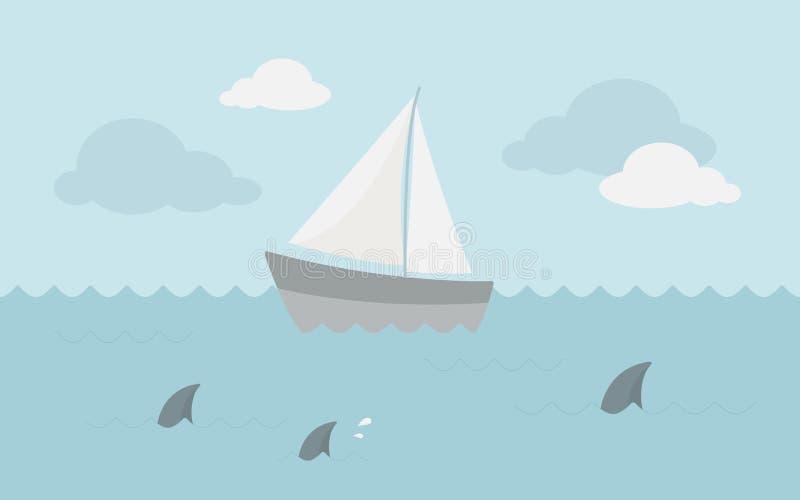 Segelbåt i hav royaltyfri fotografi