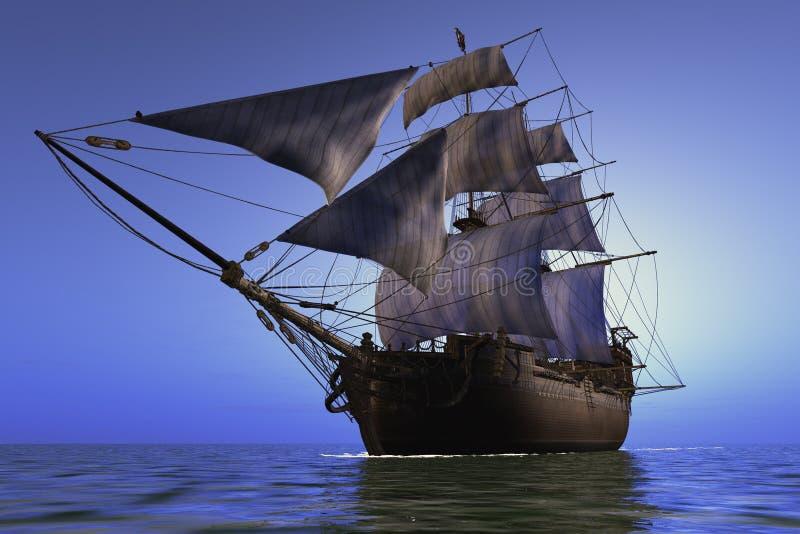 Segelbåt i havet. stock illustrationer